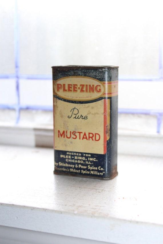Vintage Plee-Zing Spice Tin Kitchen Tin Mustard