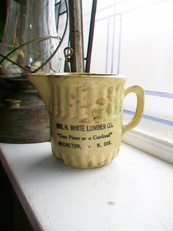 Antique Spongeware Advertising Pitcher White Lumber Co Mooreton North Dakota Green and Brown Stoneware