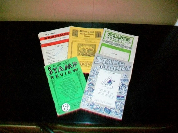 Vintage Stamp Collectors Paper Ephemera Marconi's Stamp Review Stamp Collectors Magazine 1927 1934 1937 1950