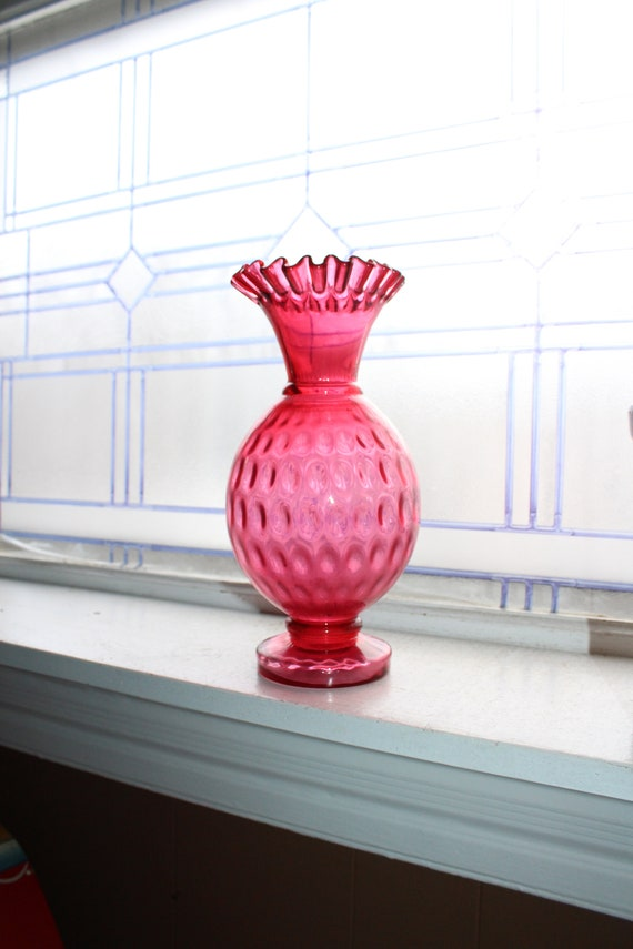 "Vintage Cranberry Thumbprint Glass Vase 10 1/2"" High with Crimped Rim"
