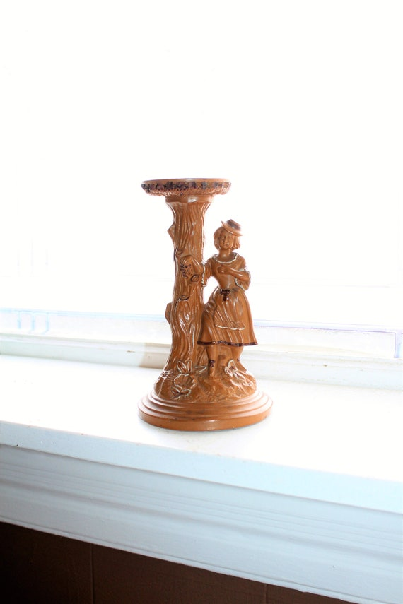 Antique FGW Redware Figural Pedestal Stand Woman & Tree Trunk