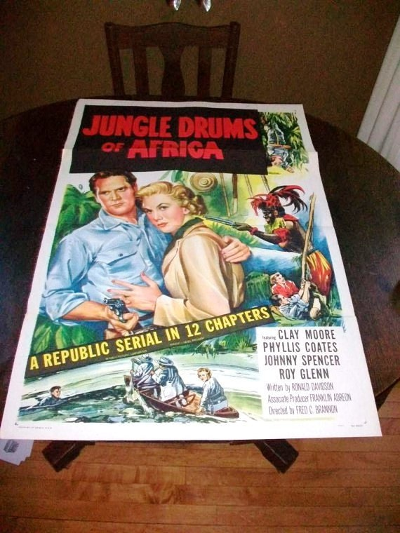 Vintage Movie Poster Jungle Drums of Africa 1952