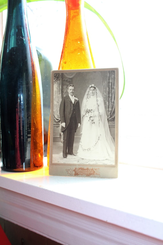 Vintage Cabinet Card Photograph Victorian Bride and Groom 1800s