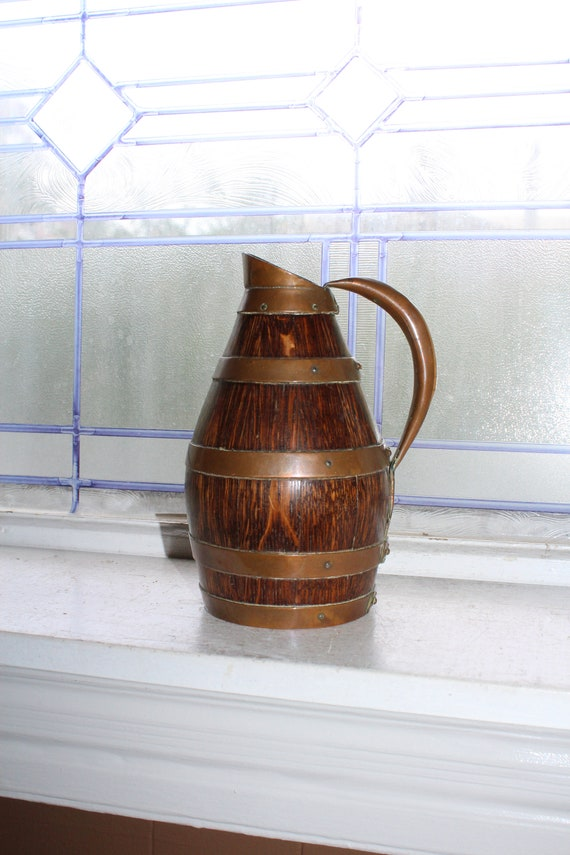 Antique French Wine Pitcher Barrel Carafe Oak and Copper