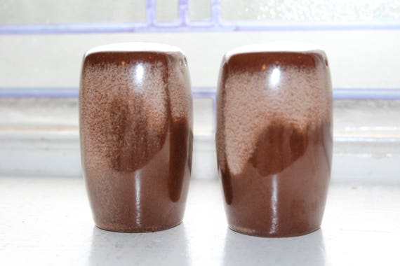 Vintage Salt & Pepper Shakers Frankoma Plainsman Brown