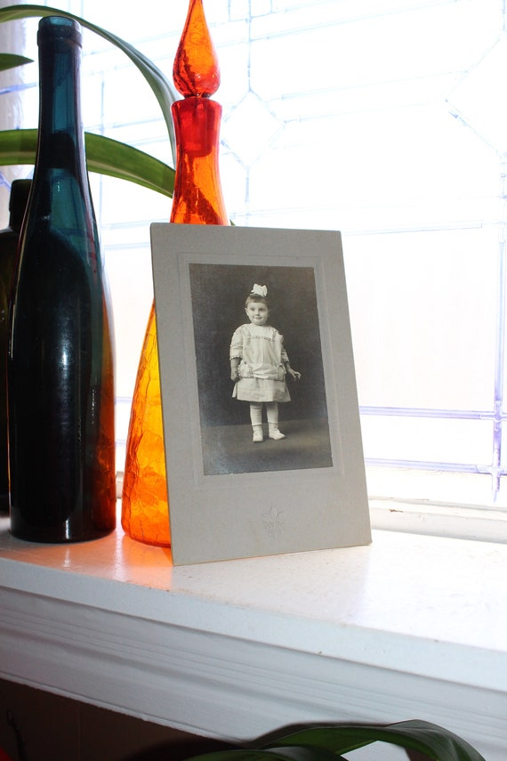 Large 1800s Photograph Cabinet Card Young Victorian Girl