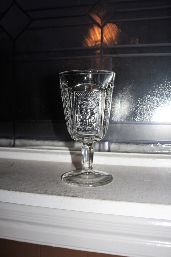 Antique 1885 EAPG Deer and Pine Tree Goblet Glass for Santa's Milk