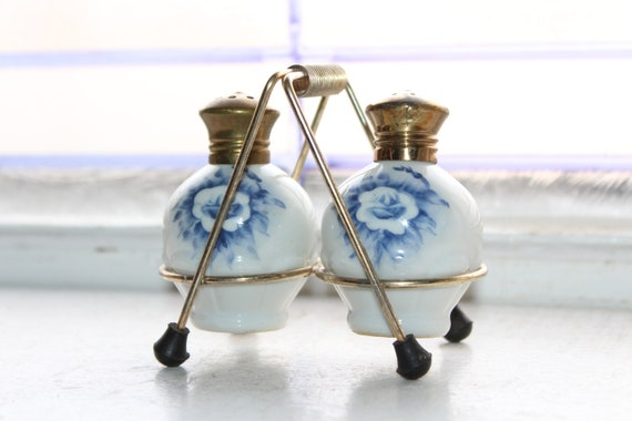 Vintage Salt and Pepper Shaker Set with Stand