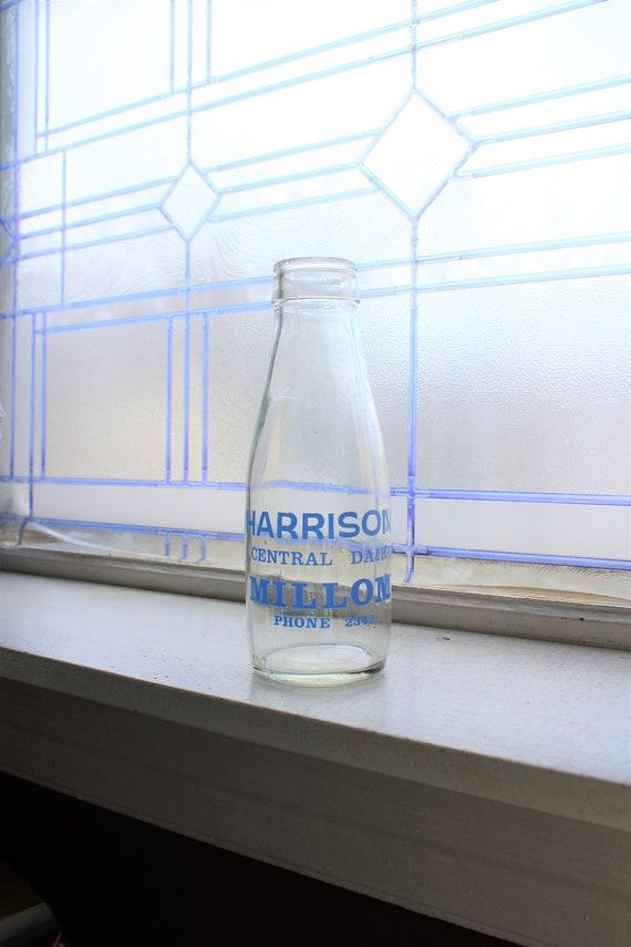 Vintage Milk Bottle Round Pint Harrison Central Dairy Millom