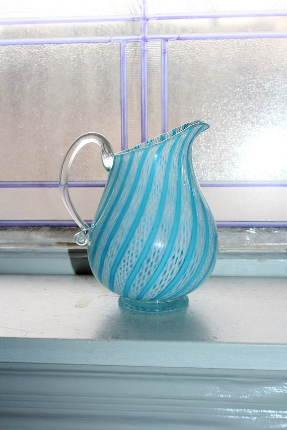 Vintage Murano Glass Latticino Pitcher with Turquoise Stripes