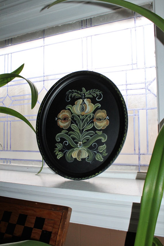 Vintage Toleware Tin Tray Tole Painted Flowers On Black Tray