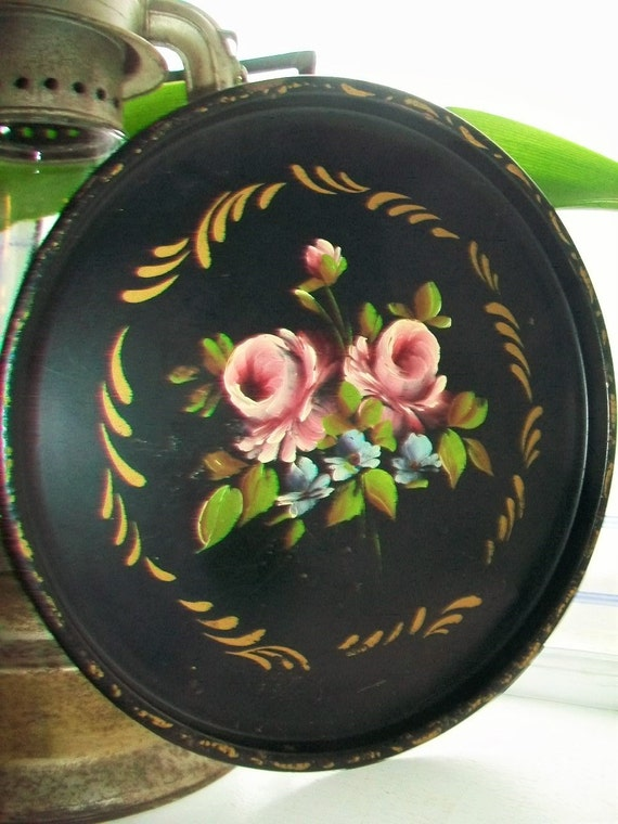 Vintage Toleware Tin Tray Tole Painted Flowers On Black Round Tray