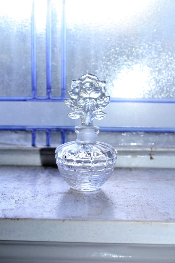 Vintage Crystal Perfume Bottle with Rose Finial