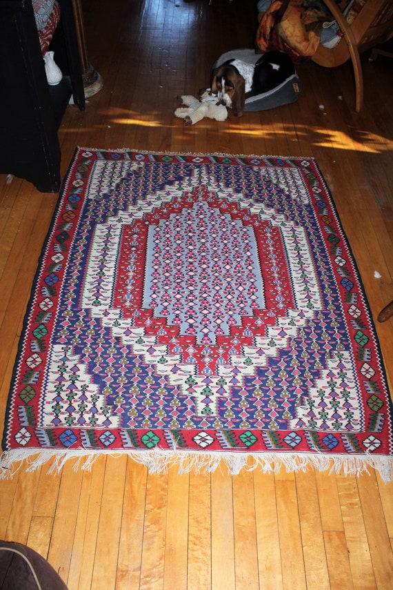 Vintage Mid Eastern Wool Rug Hand Woven