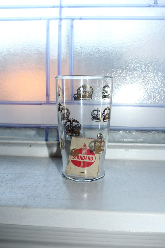 Vintage Standard Oil Gold Crown Glass Tumbler and Matchbook