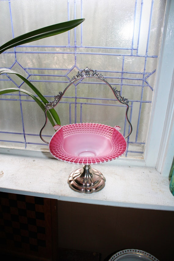Victorian Pink Glass Bride's Basket with Silverplate Stand Webster