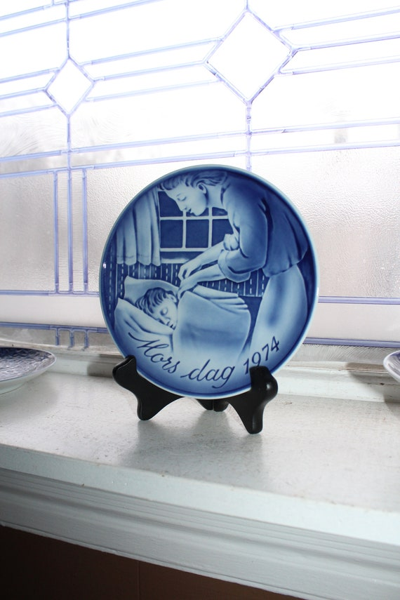 Mothers Day 1974 Georg Jensen Plate Vintage Blue and White