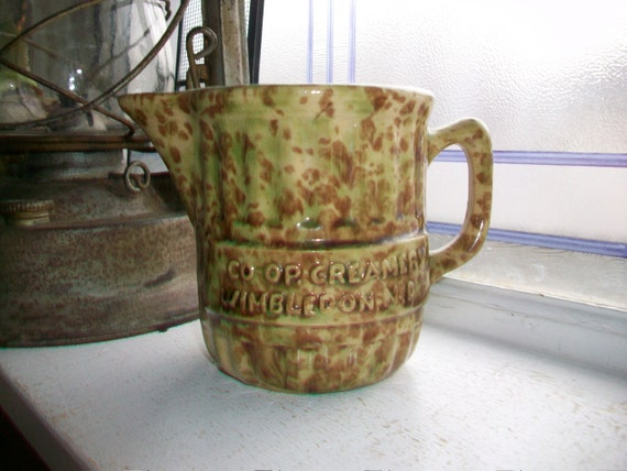 Antique Spongeware Advertising Pitcher Co-Op Creamery Wimbledon North Dakota Green and Brown Stoneware