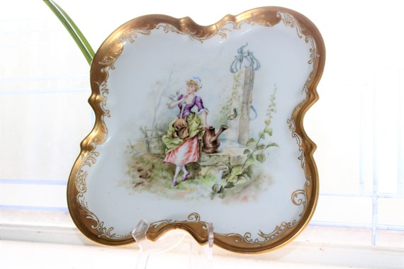 Antique JPL Limoges Charger Tray Hand Painted Signed and Dated 1893