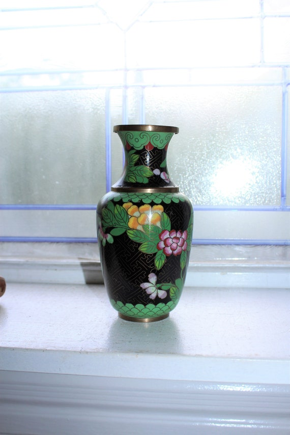 Vintage Chinese Cloisonne Bud Vase Black With Flowers Etsy