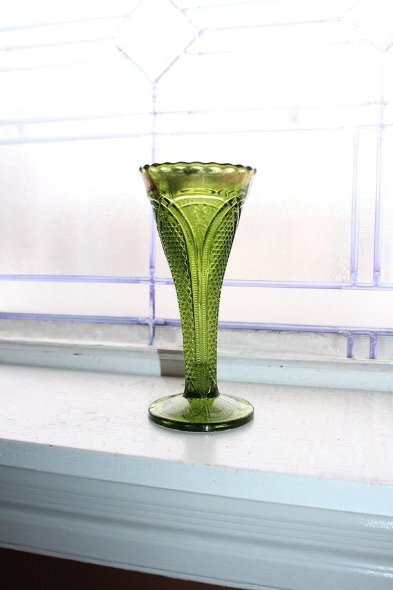 Antique EAPG Green Trumpet Vase Massachusetts by US Glass 1898