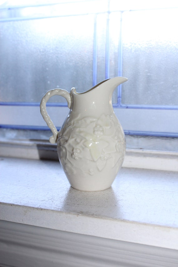 Vintage Belleek Ivy Creamer Pitcher 1930s 3rd Black Mark