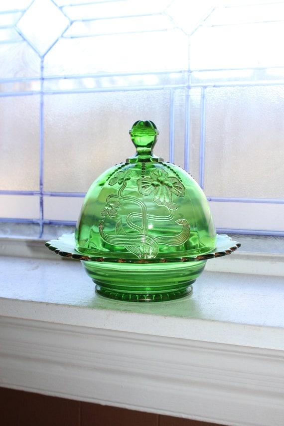 EAPG Domed Butter Dish Antique 1900s Art Nouveau Green Glass