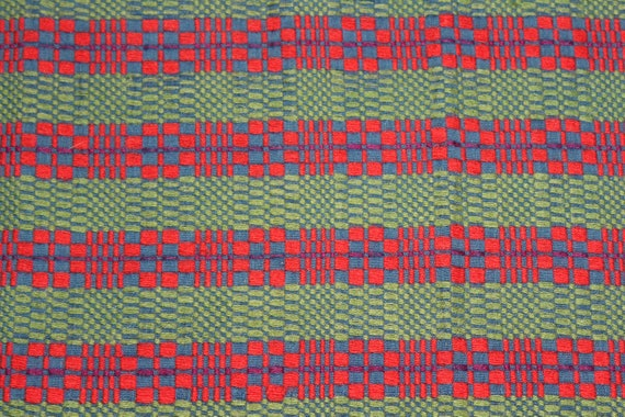 Large Antique Swedish Hand Loomed Table Runner Red Green Reversible