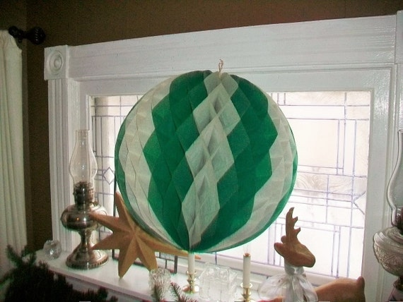 Vintage St. Patricks Day Decoration Honeycomb Crepe Paper Ball Huge 19 Inch