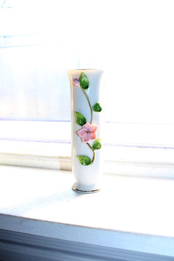 Vintage Lefton Bud Vase White Cylinder with Pink Rose