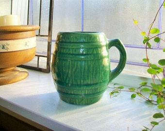 Green Stoneware Mug Vintage McCoy Green Barrel Mug