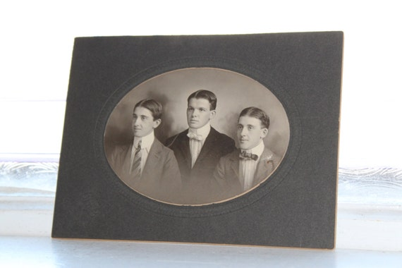 Edwardian Brothers Cabinet Card Photograph Antique 1800s Photo