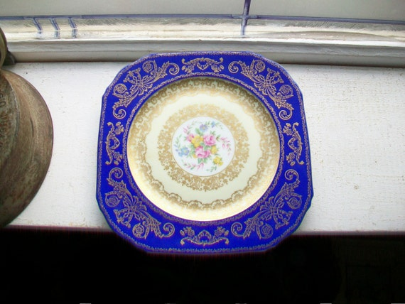 Gorgeous Czech Puls Plate Cobalt Blue and Gold with Roses Vintage 1960s