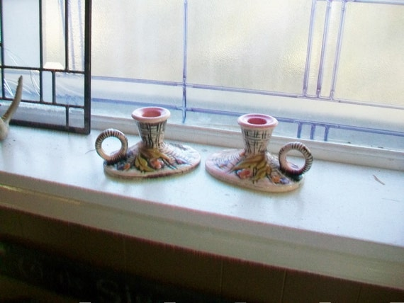 Hull Blossom Flite Candle Holders Pair Vintage 1950s T11