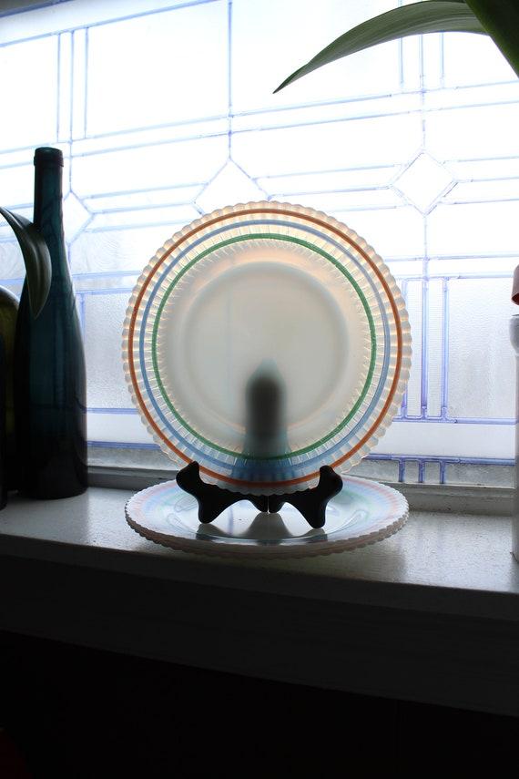 "3 Petalware Cremax Dinner Plates 9"" Pastel Bands Vintage Macbeth Evans"