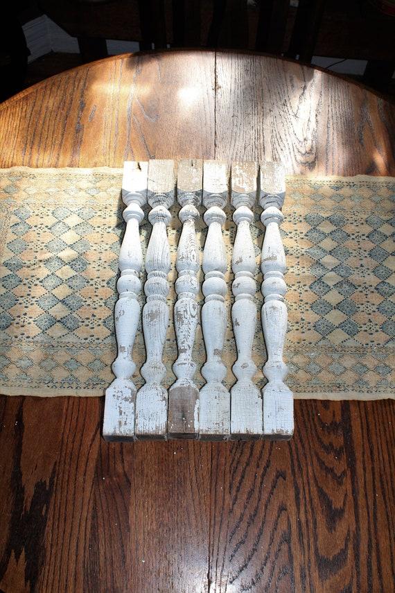 "6 Antique Porch Railing Spindle Posts Architectural Salvage 19 3/4"""