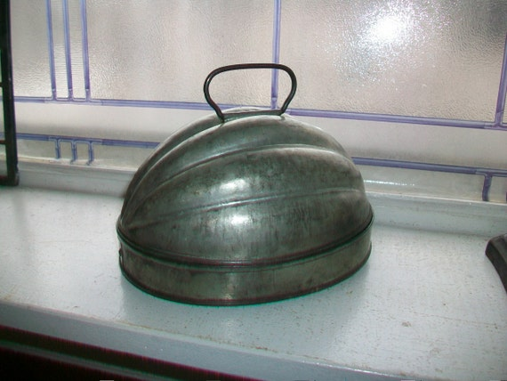 Vintage Tin Pudding Mold Melon Ribbed Bale Handles Farmhouse Decor