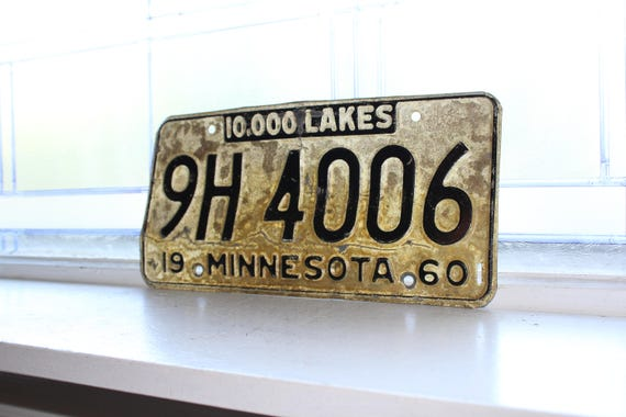 Vintage 1960 Minnesota License Plate Man Cave Decor