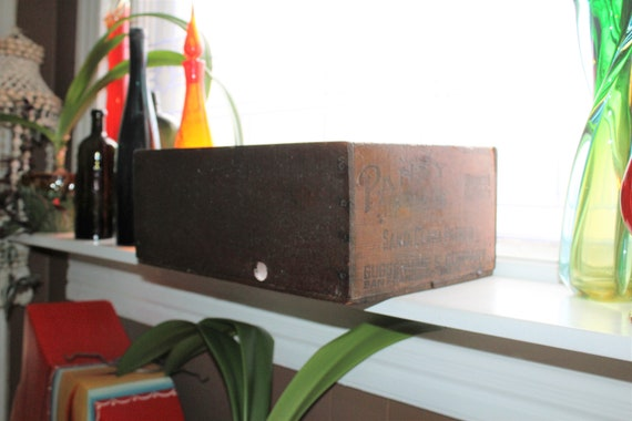 Antique Wooden Crate Pansy Prunes Box Country Store Display