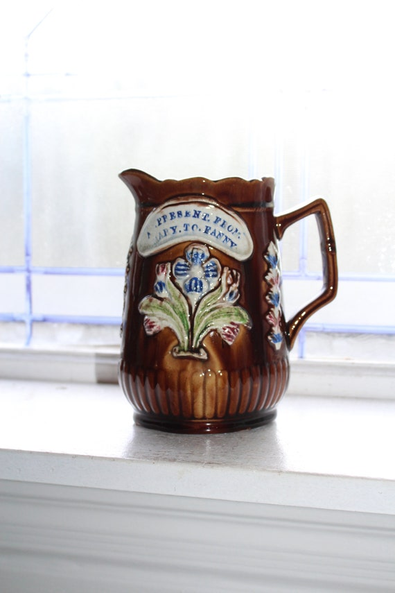 Antique Barge Ware Pitcher Canal Ware Presentation From Mary To Fanny