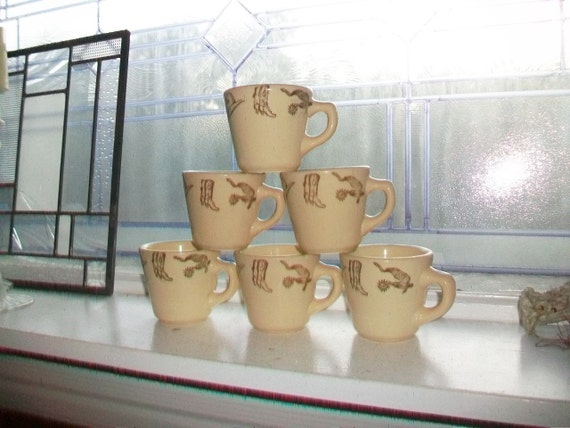 4 Vintage Western Theme Coffee Cup Restaurant China Caribe Puerto Rico