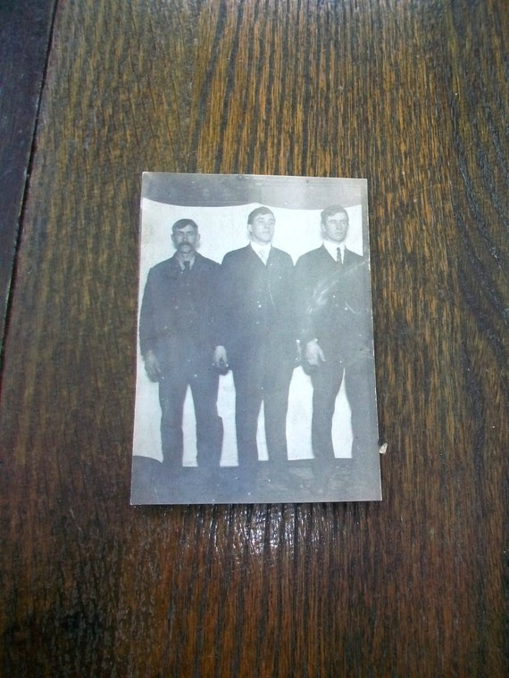 Vintage Photograph Postcard 3 Men In Wild West Photo Studio