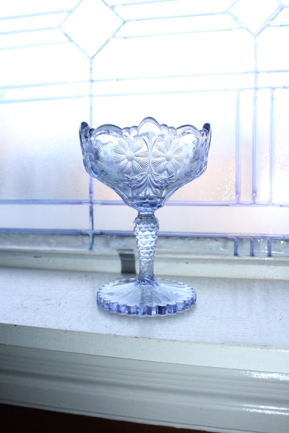 Antique EAPG Sun Purple Glass Compote Flower Pattern