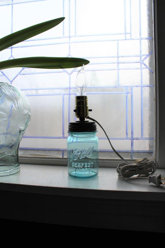 Blue Ball Jar Lamp Pint Sized Rustic Farmhouse Decor
