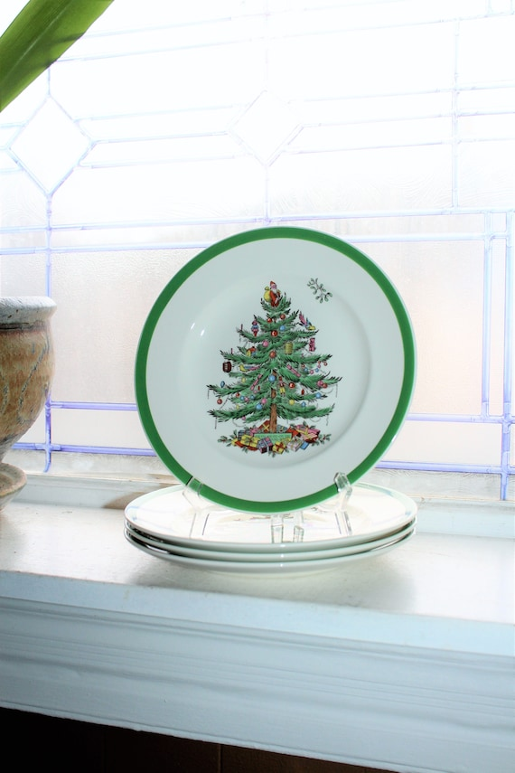 4 Vintage Spode Christmas Tree Dessert or Salad Plates