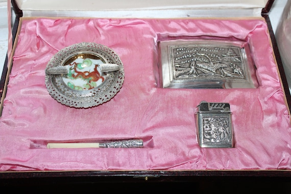 Vintage Asian Silver Smoking Set Ashtray Lighter Cigarette Case & Holder