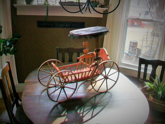Victorian Doll Buggy Original Paint Wood Wheels Antique