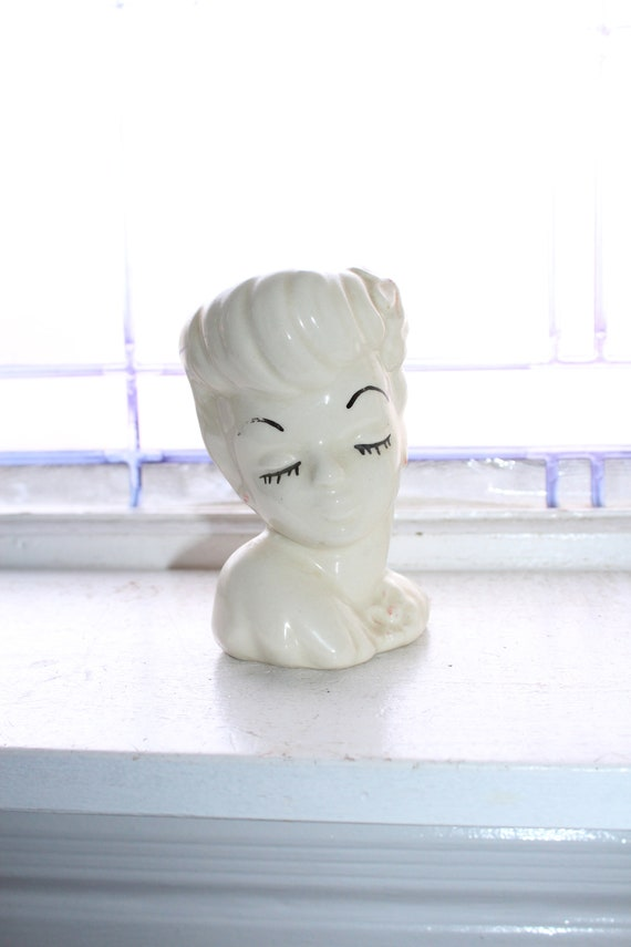 Vintage Lady Head Vase Red and White