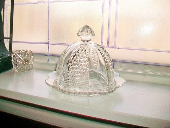 Vintage EAPG Covered Butter Dish Diamond Panel