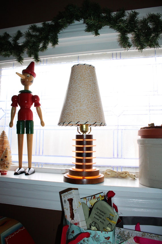 Vintage Mid Century Lamp and Fiberglass Shade Wood and Lucite 1950s